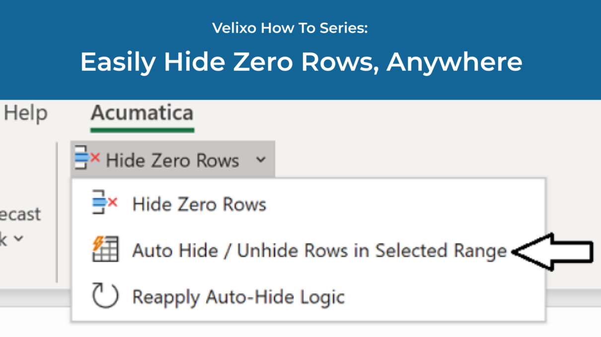Velixo 6: Easily Hide Zero Rows Anywhere